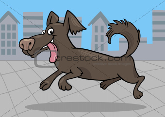 running little dog cartoon illustration