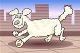 running poodle dog cartoon illustration