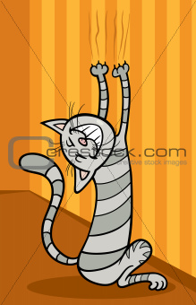 cat scratching wall cartoon illustration