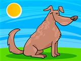 cute sitting dog cartoon illustration