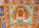 Ornated roof interior of old orthodox church
