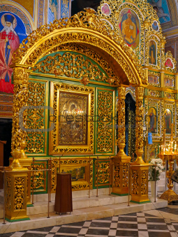 Gold ornated interior of orthodox church