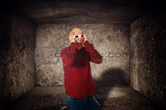 Scared man with 3d anaglyph glasses screaming