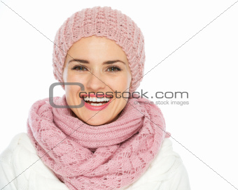 Portrait of smiling woman in knit winter clothes