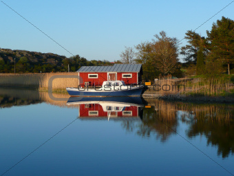 boat and fishing cabin
