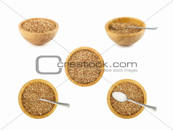 bowl and spoon with buckwheat set