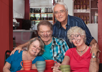Caucasian Seniors Sitting Together