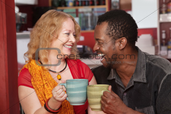 Smiling Mixed Couple Laughing