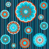 Abstract flower seamless colorful pattern