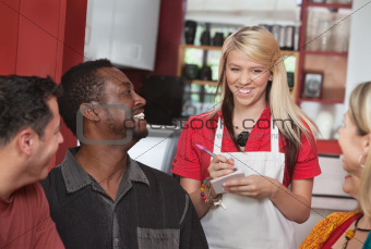 Waitress Taking Orders at Cafe