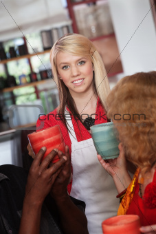 Waitress with Mugs and Patrons