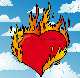 Burning heart on sky