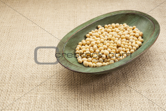 soybeans in rustic bowl