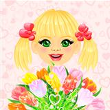 vector pretty sweet girl with a festive bouquet of flowers