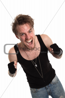Rocker dude with raised fists