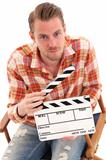 Man holding a film slate