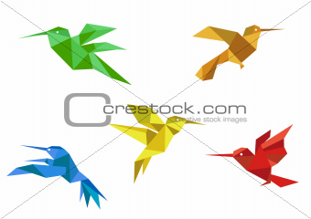 Origami hummingbirds set