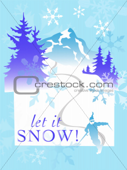 Snow ski mountain winter snowflake scene