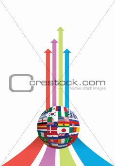 business arrow and flag globe graph