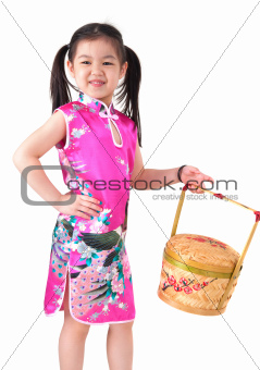 Oriental girl in chinese red cheongsam dress