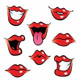 Cartoon female mouths with glossy lips