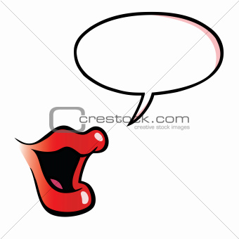 Cartoon female mouth with speech bubble