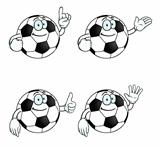 Smiling cartoon football set