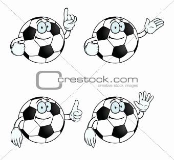 Smiling cartoon football set