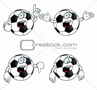 Crying cartoon football set