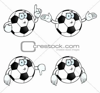 Thinking cartoon football set