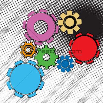 Grunge gears pattern