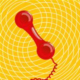 Conceptual communication icon with a obsolete red phone receiver. Vector eps 10 with transparency effect.