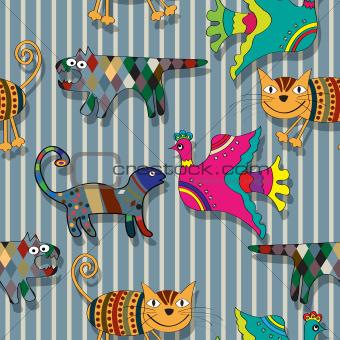 Seamless childlike drawing pattern