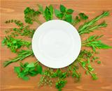 Fresh Herbs Collection as Border Around White Plate 