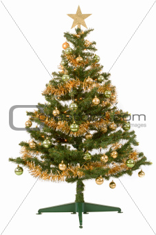 Decorated christmas tree with yellow and green balls