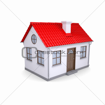 Small house with red roof