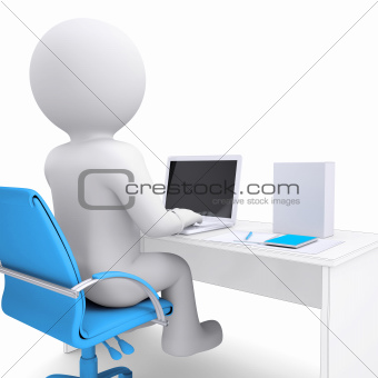 3d white man working at a laptop. On the table in a white box
