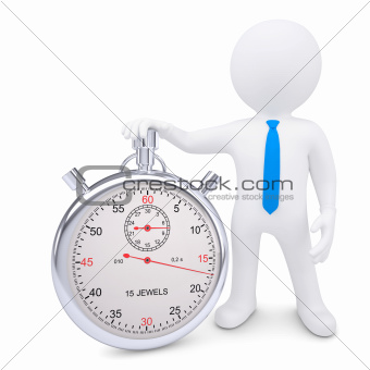 The white man and the metal stopwatch