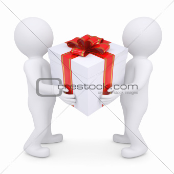 Two white man holding a box with a gift