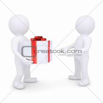 White man gives a gift
