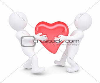 Two white man holding a glowing red heart