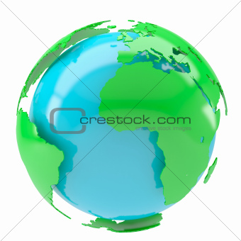 Blue planet with green continents