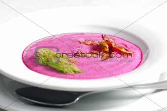 mixed red beet soup with cream