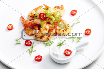 grilled prawns with dip of garlic, chilli and dill