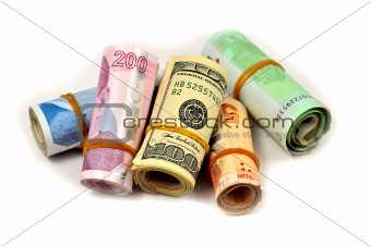 hundred and two hundred Turkish Lira and dollars on white backgr