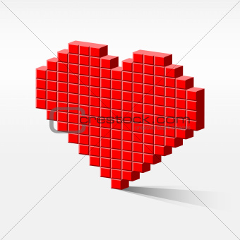 pixel heart perspective