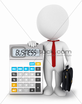 3d white people business calculator