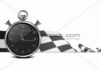 racing flag with stop watch