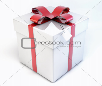 3d Shiny Decorative Gift, Present Box - Package isolated on whit