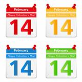 Calendar pages with 14 february